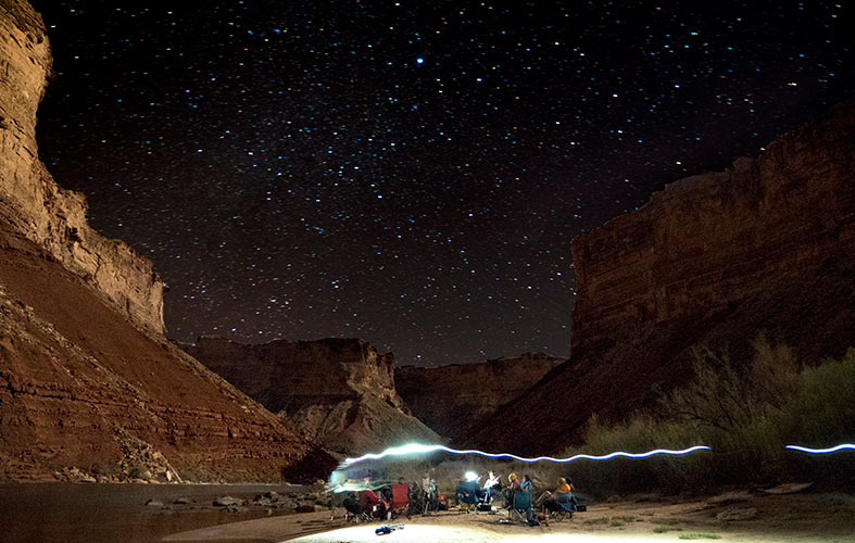 A timelapse shot of the starry sky above the colorado river